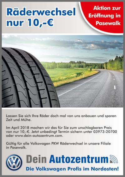 Räderwechsel im April für 10 Euro - nur in Pasewalk