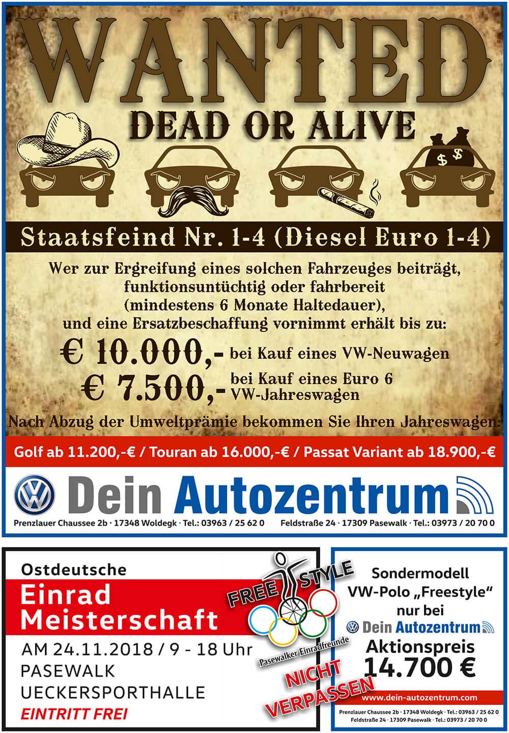 Hitzefrei-Preise zum Beispiel der Polo Comfortline für 99 Euro monatlich